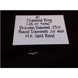 Diamond Ring/1.25 ct Total/ Princess Diamond .25 ct/ Round Diamonds .1 ct each/ 14k Gold Band