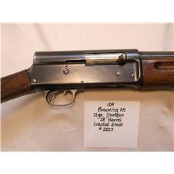 "Browning A5- 12 GA. Shotgun- 28"" Barrel- Cracked Stock"