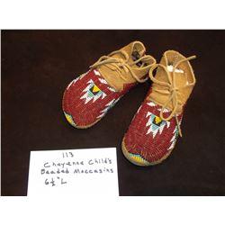 "Cheyenne Child's Beaded Moccasins  6 1/2"" L"