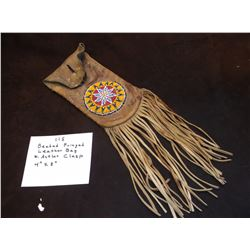 """Beaded Fringed Leather Bag w/Antler Clasp- 4"""" X 8"""""""