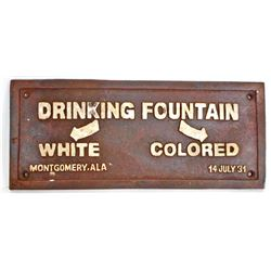 BLACK AMERICANA CAST IRON SEGREGATED DRINKING FOUNTAIN SIGN