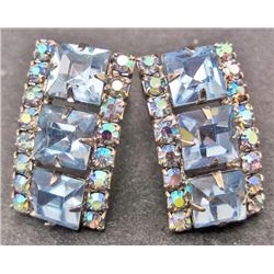 PAIR OF VINTAGE WEISS BLUE IRIDESCENT RHINESTONE EARRINGS