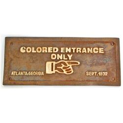 BLACK AMERICANA CAST IRON SEGREGATED ENTRANCE SIGN