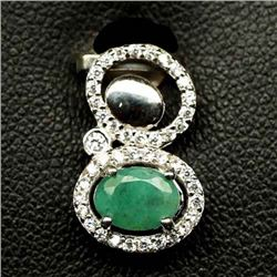 STERLING SILVER GREEN EMERALD PENDANT