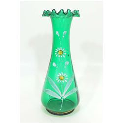VINTAGE MARY GREGORY HANDPAINTED GLASS VASE