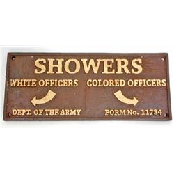 BLACK AMERICANA CAST IRON SEGREGATED ARMY MILITARY SHOWERS SIGN