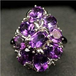 WHITE GOLD OVER STERLING SILVER PURPLE AMETHYST RING - SIZE 6.75