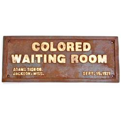 BLACK AMERICANA CAST IRON SEGREGATED WAITING ROOM SIGN