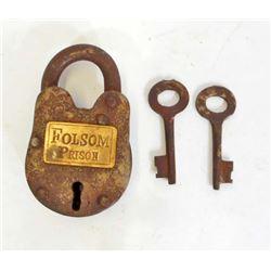 FOLSOM PRISON SMALL IRON PADLOCK W/ KEYS