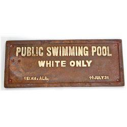 BLACK AMERICANA CAST IRON SEGREGATED SWIMMING POOL SIGN