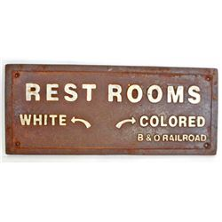 BLACK AMERICANA CAST IRON SEGREGATED REST ROOMS SIGN