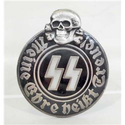 GERMAN NAZI WAFFEN SS RUNIC & SKULL ENAMELED PARTY BADGE