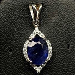 STERLING SILVER BLUE SAPPHIRE PENDANT