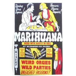 MARIHUANA WEED W/ ROOTS IN HELL MOVIE POSTER PRINT