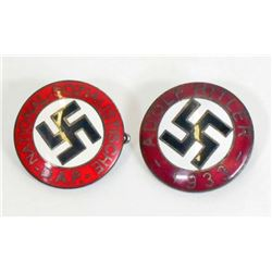 LOT OF 2 GERMAN NAZI POLITICAL ENAMELED PARTY BADGES