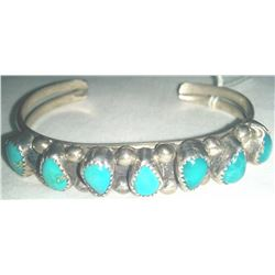 Navajo Cuff Sterling Silver Bracelet w/Turquoise