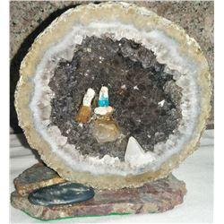 Smokey Quartz Geode w/Miniature Nativity Scene