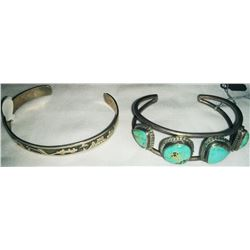 Two Navajo Sterling Silver and Turquoise Cuff Bracelets