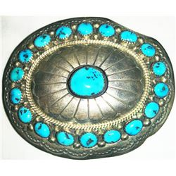 Navajo Sterling Silver & Turquoise Belt Buckle