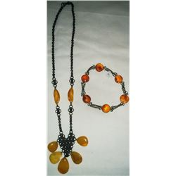 Amber Beads and Copper Necklace w/Bracelet