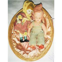 2 Vintage Miniature Porcelain Dolls In Basket