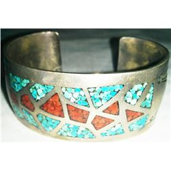 Sterling Silver Bracelet w/Coral and Turquoise