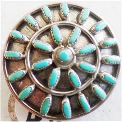Zuni Petit Point Turquoise and Sterling Silver Pin