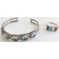 Zuni Sterling Silver Bracelet and Ring