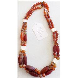 Double Stranded Carnelian Bead Necklace w/Bone Spacers