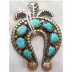 Navajo Sterling Silver and Turquoise Horse Shoe Pin