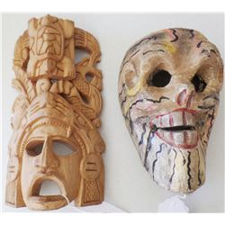 2 Wooden Mexican Masks