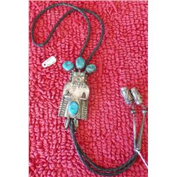 1950s Silver & Turquoise Kachina Bolo Tie
