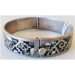 Signed Taxco Sterling Silver & Abalone Cuff