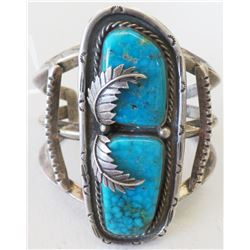 Large Navajo Sterling Silver & Turquoise Bracelet