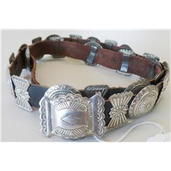 Sterling Silver & Leather Concho Belt