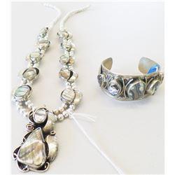 Mexican Sterling Silver Cuff w/Squash Blossom Necklace
