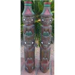 Matched Pair Northwest Coast Totem Poles