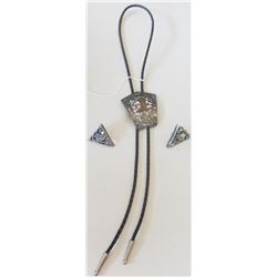 Signed Sterling Silver & Abalone Bolo Tie w/Collar Tips