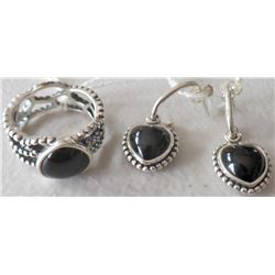 Sterling Silver & Jet Ring & Earrings