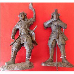 Pair of Samurai Bronze Sculptures