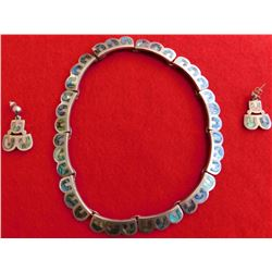 E. Melendez Sterling Silver and Abalone Taxco Necklace and Earring set