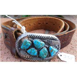 Navajo Sterling Silver Belt Buckle w/Leather Belt