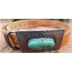 Leather Belt with Sterling Silver Buckle w/Turquoise