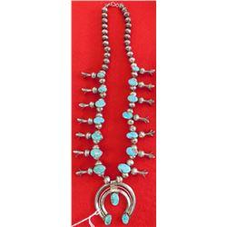 Old Navajo Squash Blossom Necklace