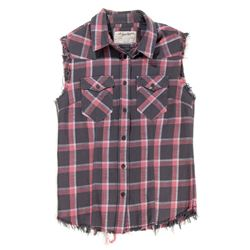 Lisbeth Salander Red & Black Plaid Flannel with Cut-Off Sleeves from The Girl with the Dragon Tattoo