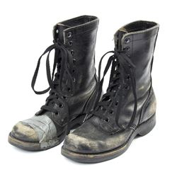 Lisbeth Salander Stunt Distressed Black Leather Combat Boots from The Girl with the Dragon Tattoo