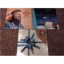 Lot of 3 Signed Willie Nelson Albums