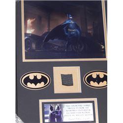 "15x20 Framed Batmobile Upholstery Swatch from 1989 Keaton ""Batman"""