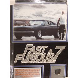 """17x21 Framed Piece of 1970 Black Dodge Charger RT """"Fast and Furious 7"""""""
