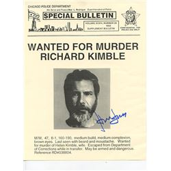 """Harrison Ford Signed """"The Fugitive"""" Screen Used Prop Wanted Poster"""